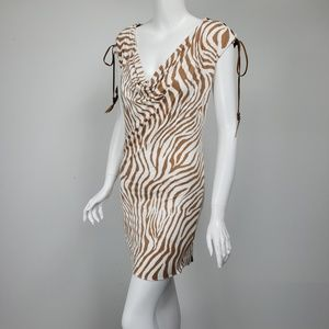 Sky Zebra Jersey Tie Shoulder Mini Dress NWT
